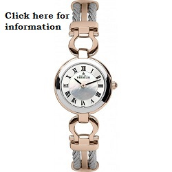 £425 Steel & Rose Gold Cable Bangle watch