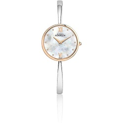 £350 Mother of Pearl, Steel & Rose gold Bangle watch