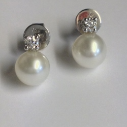 68115 - Cultured Pearl & Diamond Earrings in 18ct White Gold