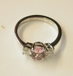 69711 - Pink Morganite & Diamond Ring in 18ct White Gold