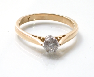 65716 - 18ct Yellow & White Gold 0.33ct Round Brilliant Cut Solitaire