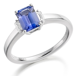 65894 - Tanzanite & Diamond Art Deco style Ring in 18ct White Gold